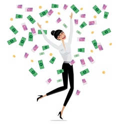 Money falling on business woman vector