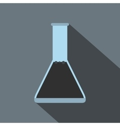 Conical flask test tube with oil flat icon vector
