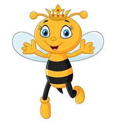 Cute queen bee hands up isolated vector