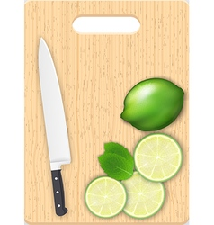 Lemon slices and knife on the chopping board vector