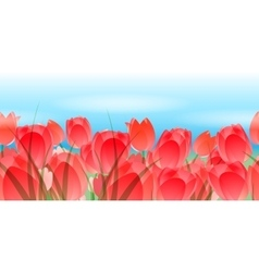 Red tulips horizontal seamless pattern vector
