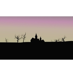 Silhouette house in fields vector