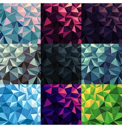 Triangular low poly backgrounds set different vector