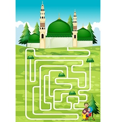 Maze game with people and mosque vector
