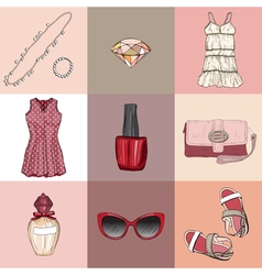 Fashion set of womans clothes accessories vector