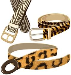 Belt with texture wild animal skins vector image