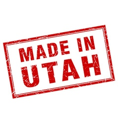 Utah red square grunge made in stamp vector