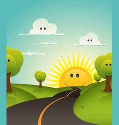 cartoon welcome spring or summer landscape vector image