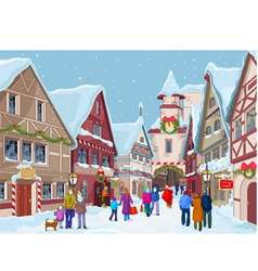 Christmas shopping street vector image vector image