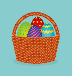 Cute basket with eggs painted vector