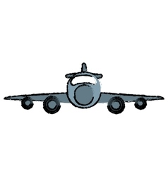 Drawing jet airplane private transport front view vector
