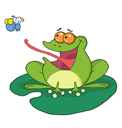 Frog and fly cartoon character vector