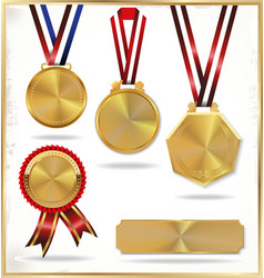 Gold medal set vector image