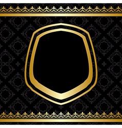 Golden frame and decorations on black background vector