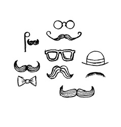 Hand drawn moustaches vector