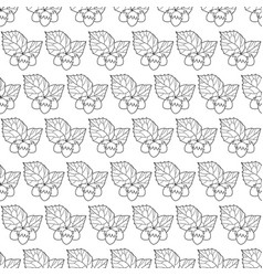 hazel leaf and nuts outline pattern vector image vector image