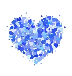 Heart made up of little blue hearts isolated on vector image vector image