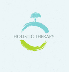 holistic therapy tree with roots on organic paper vector image vector image