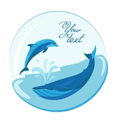 Jumping dolphin and swimming whale on marine vector
