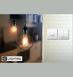 Loft style lamps and switches poster vector