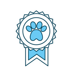 Medal with paw icon vector