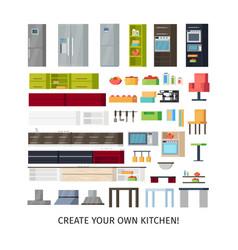 Modern kitchen interior objects set vector