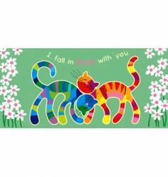 Motley cats in love vector
