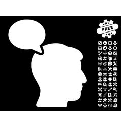 Person opinion icon with tools bonus vector