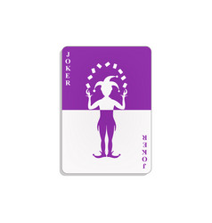 playing card with joker in purple and white design vector image vector image