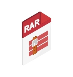 Rar file icon isometric 3d style vector