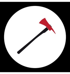Red and black fire brigade axe simple isolated vector