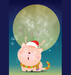 santa cat is alone and cries miaow front of full vector image vector image