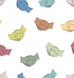 Seamless pattern with drawing of handshakes vector