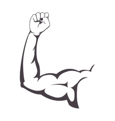 Silhouette muscular arm with a clenched fist vector
