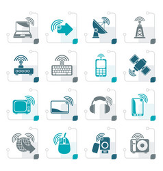 Stylized wireless and technology icons vector