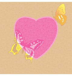 valentine card - decorative heart with butterflies vector image