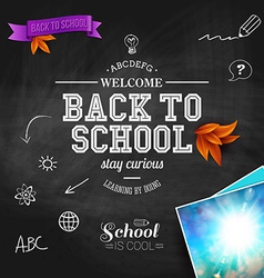 Vintage back to school card wooden background vector
