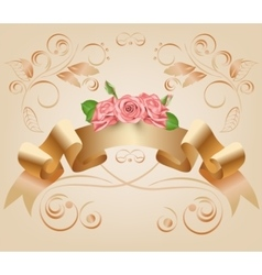 Vintage pastel decorative ribbon with flowers vector image