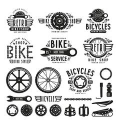Set of vintage bike shop labels vector image