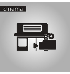 Black and white style icon building cinema camera vector