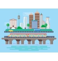 Urban modern city landscape flat concept vector