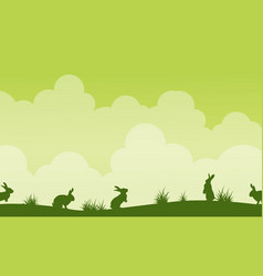 Background easter theme landscape silhouette vector