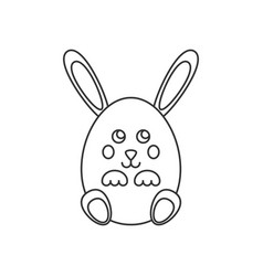 Rabbit in egg form line icon vector