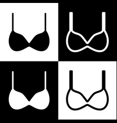 bra simple sign black and white icons and vector image
