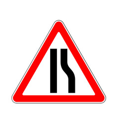 road sign warning restriction right side road on vector image