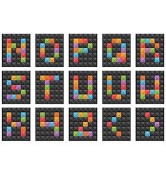 square alphabet set 2 vector image
