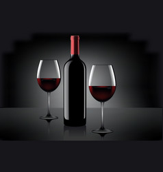 Two glasses of wine and bottle over gray vector