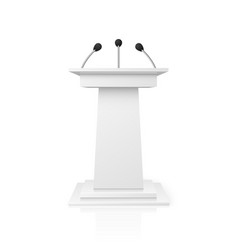 White empty podium tribune for public speech with vector