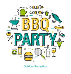 bbq party - round linear concept vector image