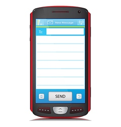 Copy space for sms text on touch screen phone vector